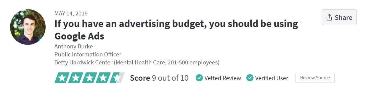 google ads reviewbudget